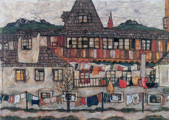 Schiele, Egon: House with Drying Laundry/Clothes. Fine Art Print/Poster. Sizes: A4/A3/A2/A1 (00150)